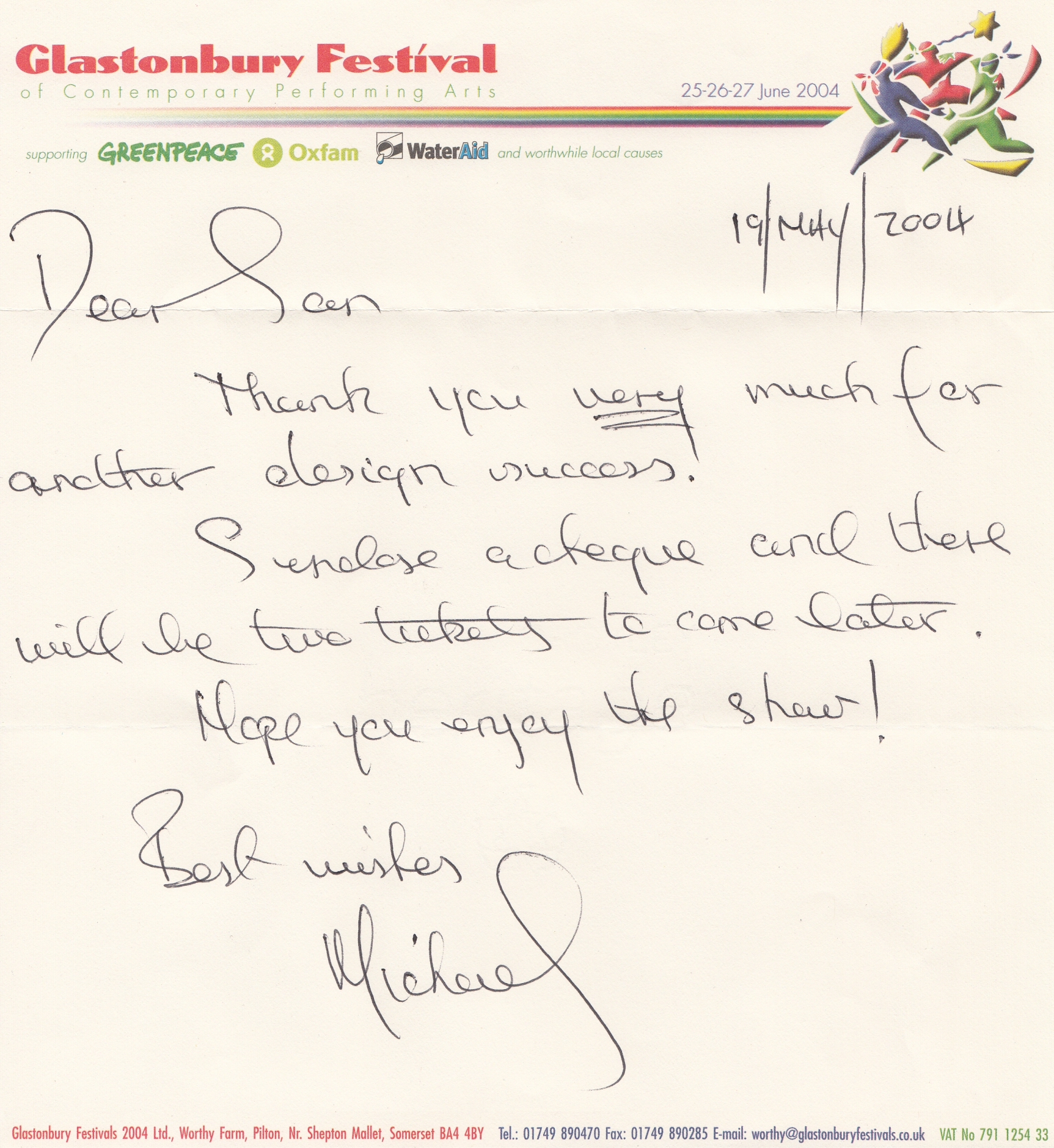 Image of letter from Michael Eavis
