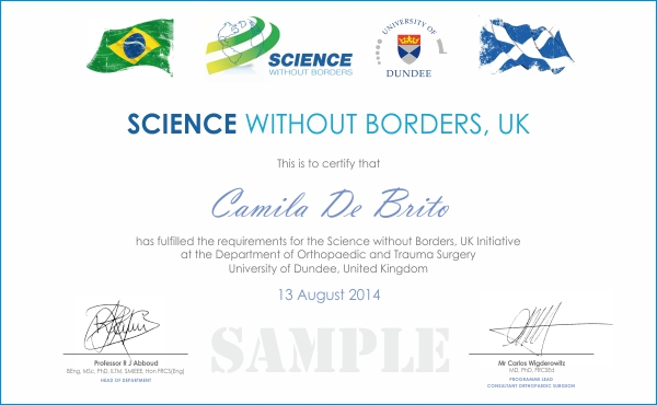 SWB sample certificate