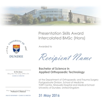 Intercalated BMSc presentation skills award 2016